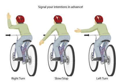 Bicyclist demonstrating turn signals