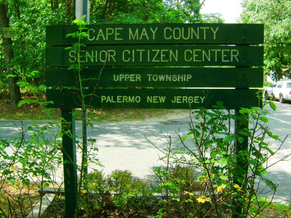 Wooden Upper Township Senior Center sign