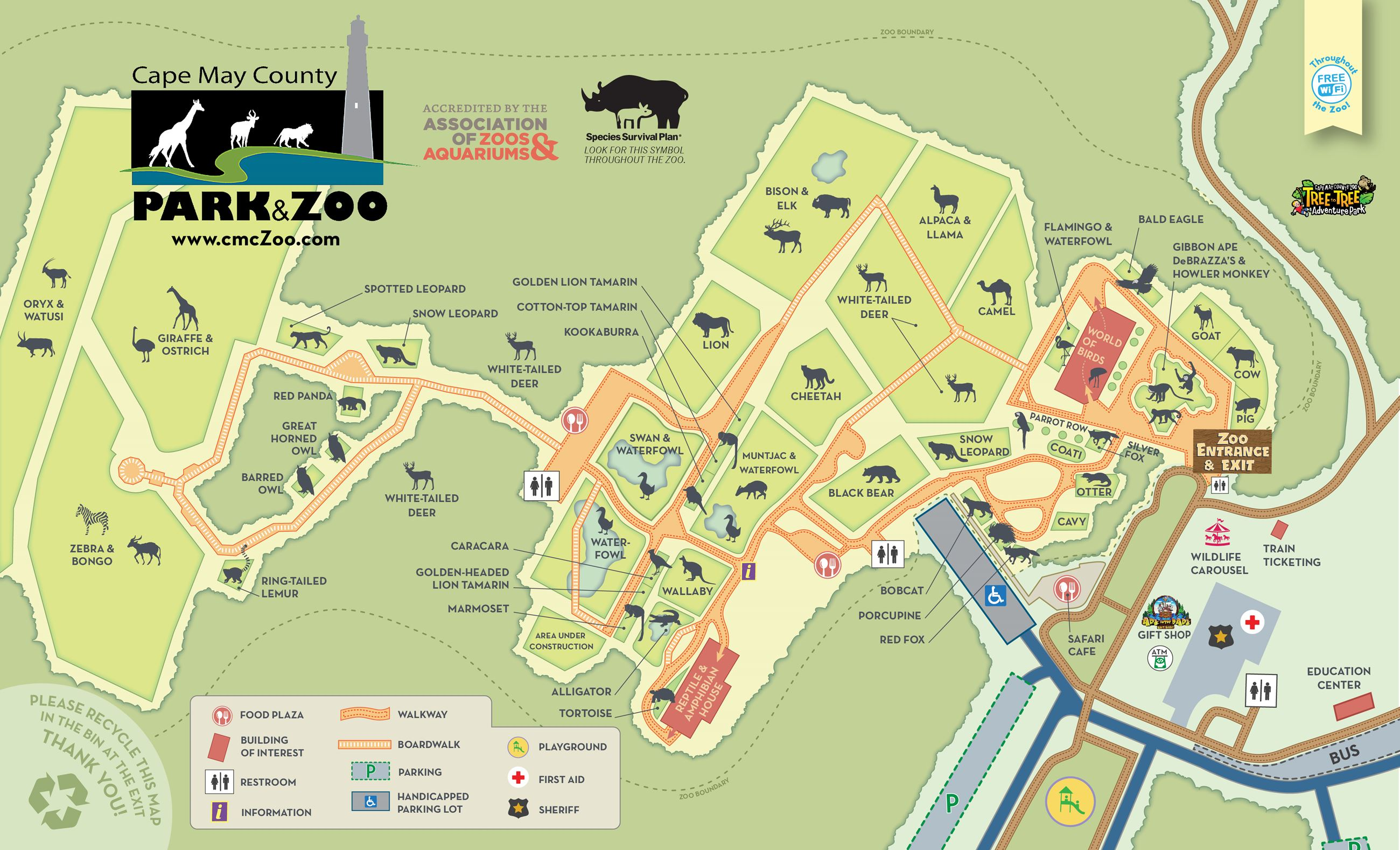 Maps | Cape May County, NJ - Official Website Zoo Map on