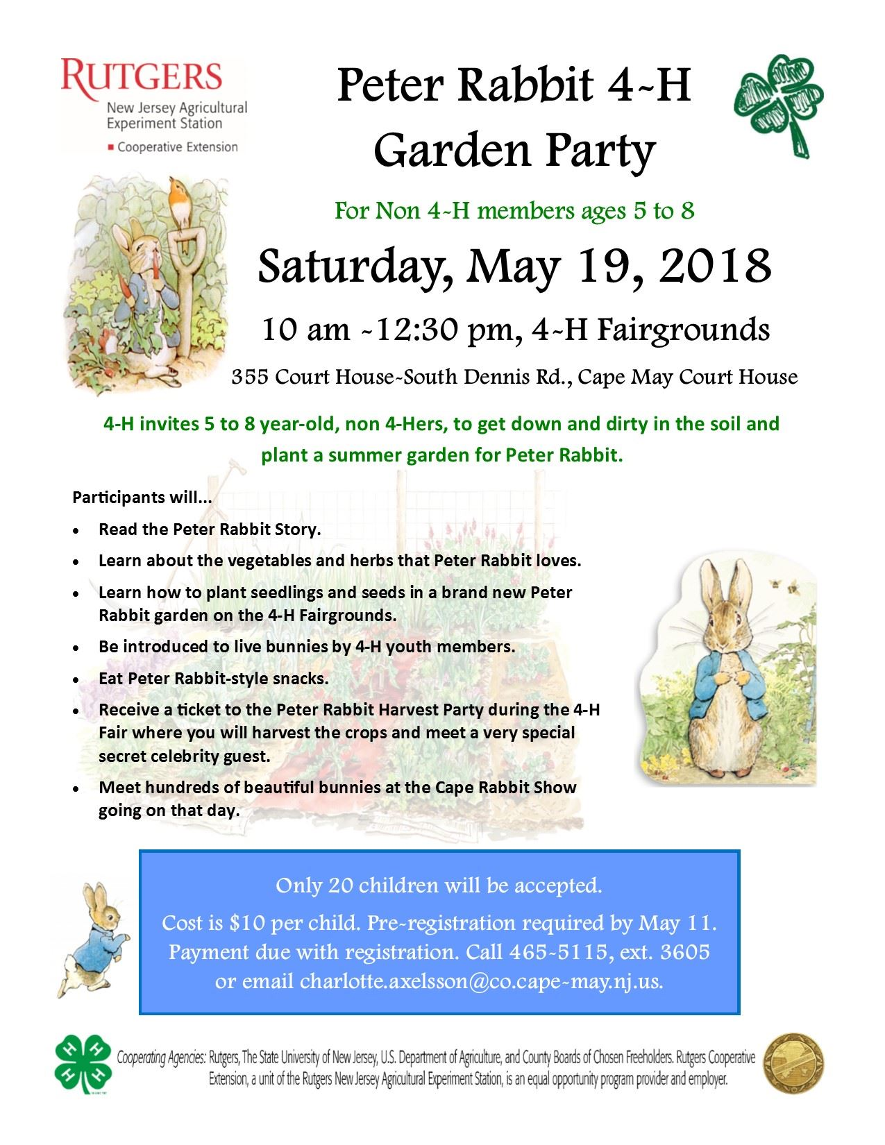 Peter Rabbit Gardening Program flyer