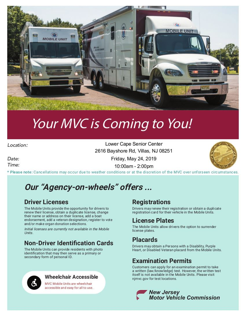MVC at Lower Cape Senior Center May 24th