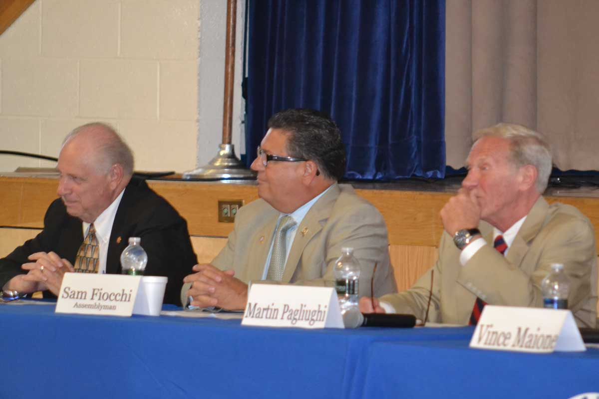 Freeholder Director Gerald Thornton, Assemblyman Sam Fiocchi and County Emergency Management Director Martin Pagliughi