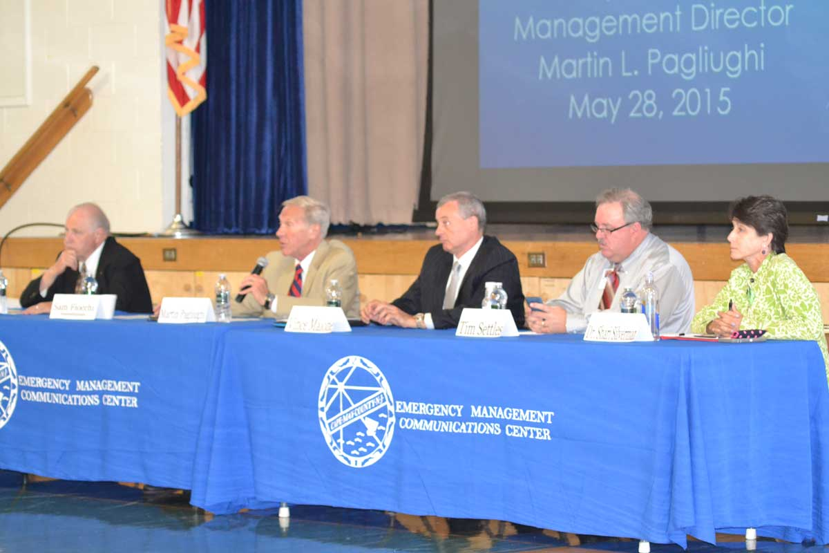 Panel members Freeholder Director GeraldThornton; Emergency Management Director Martin Pagliughi; Atlantic City Electric Region President Vince Maione; Red Cross Disaster Officer Tim Settles; Garden State Animal Resource President Dr. Shari Silverman